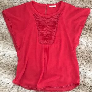 Anthropologie blouse with mini poms